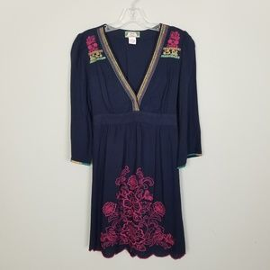 Flying Tomato Floral Embroidered Blue Mini Dress S